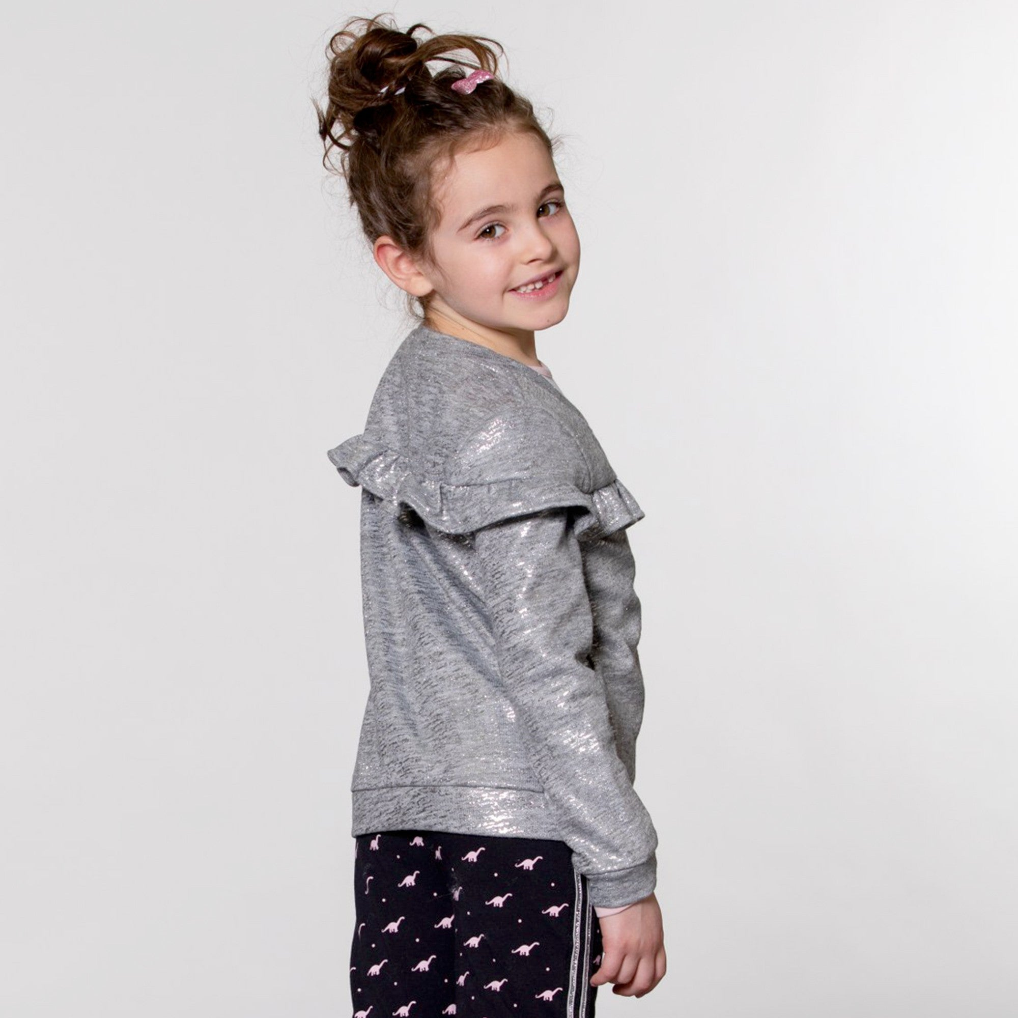 Grey and Silver Cardigan with Ruffle