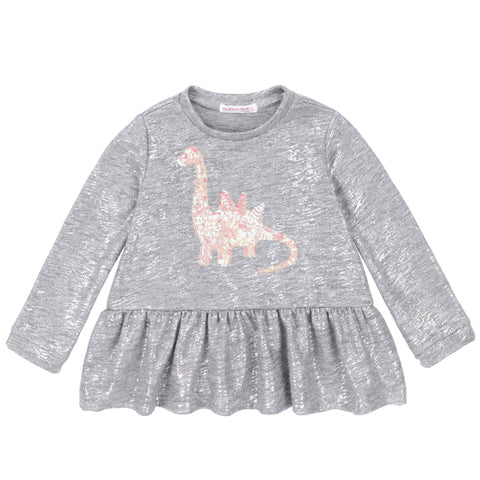 Grey Heeather Top With Sequins Dino