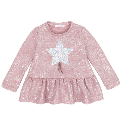 Pink Heather Top With Sequin Star