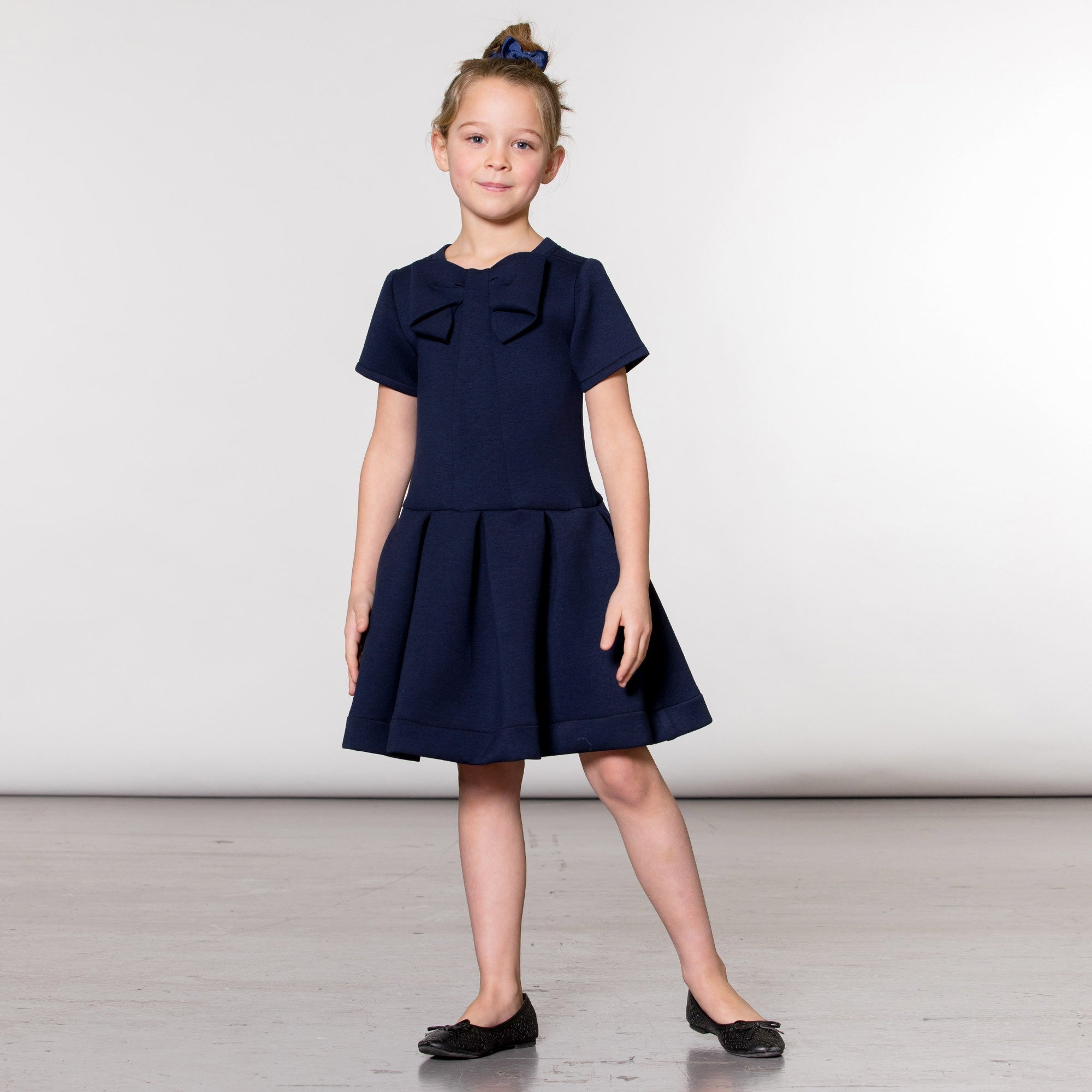 Navy Neoprene Short Sleeve Dress WIth Bow