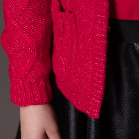 Red Knitted Cable Cardigan