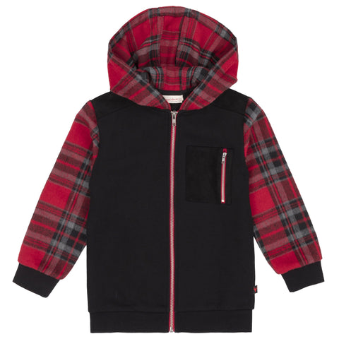 Full Zip Hoodie With Red & Black Plaid Inserts