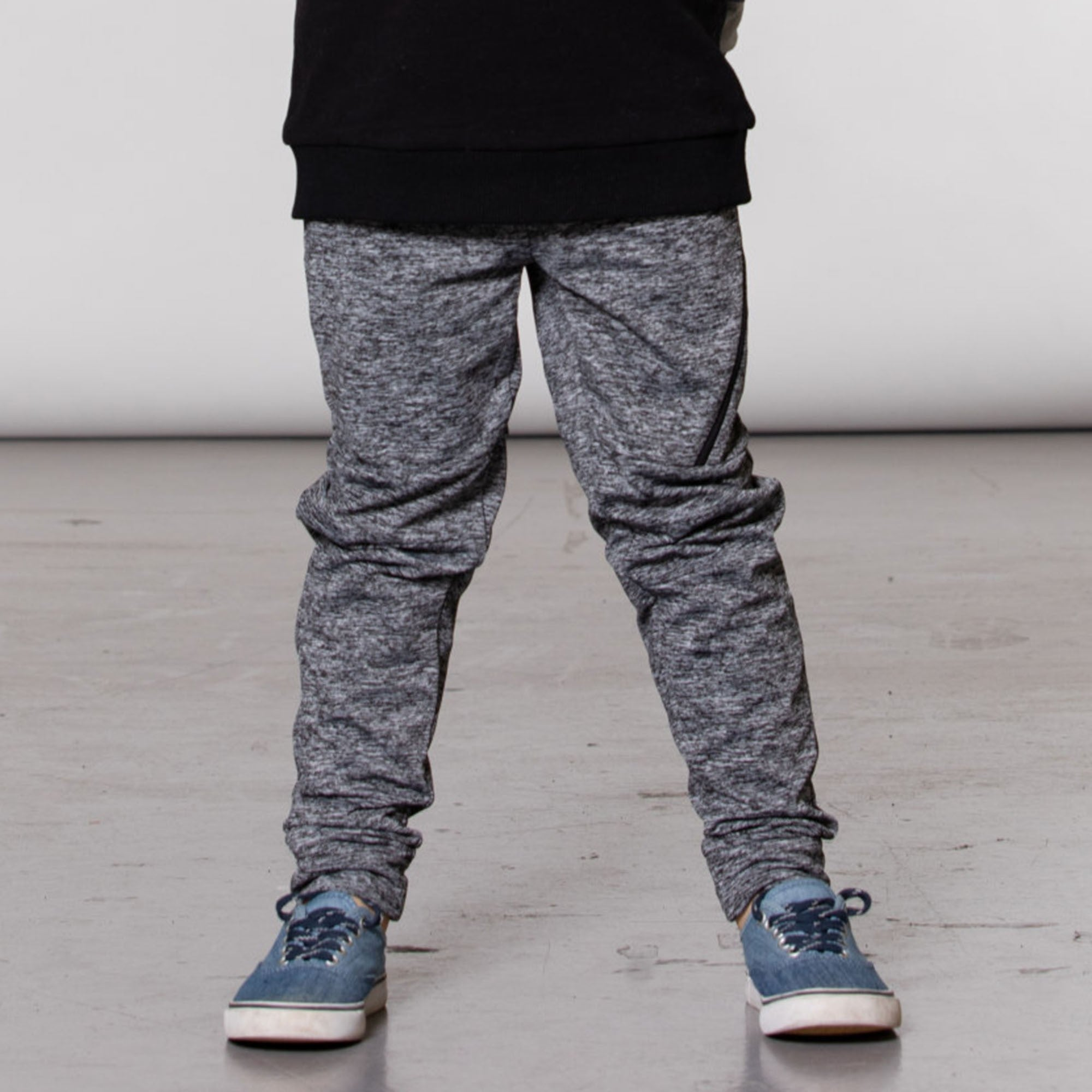 Mix Grey Jogger Pants WIth Side Zip Band