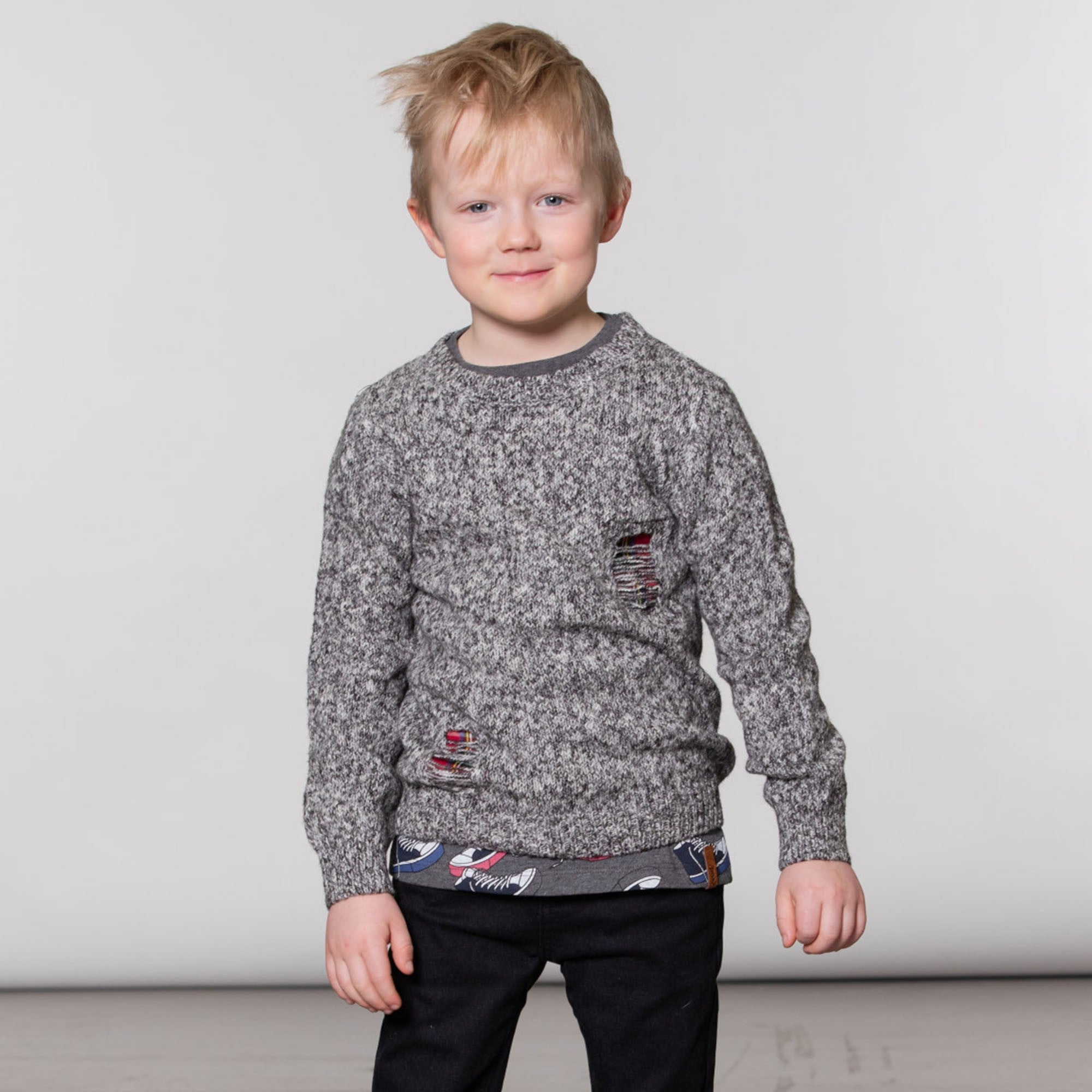 Heather Grey Knitted Sweater With Patch Inserts