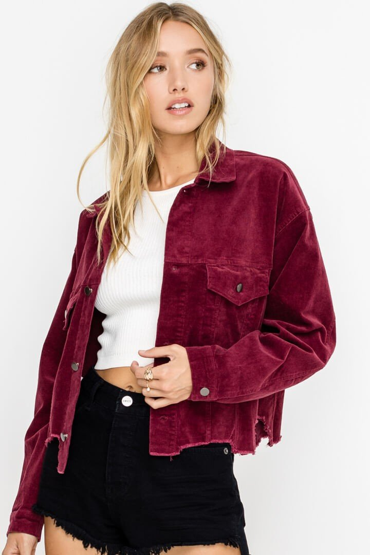 Distressed Hem Boxy Corduroy Jacket
