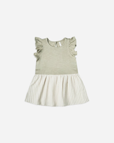 Rylee + Cru - Coury Dress - Sage Stripe - This Little Piggy