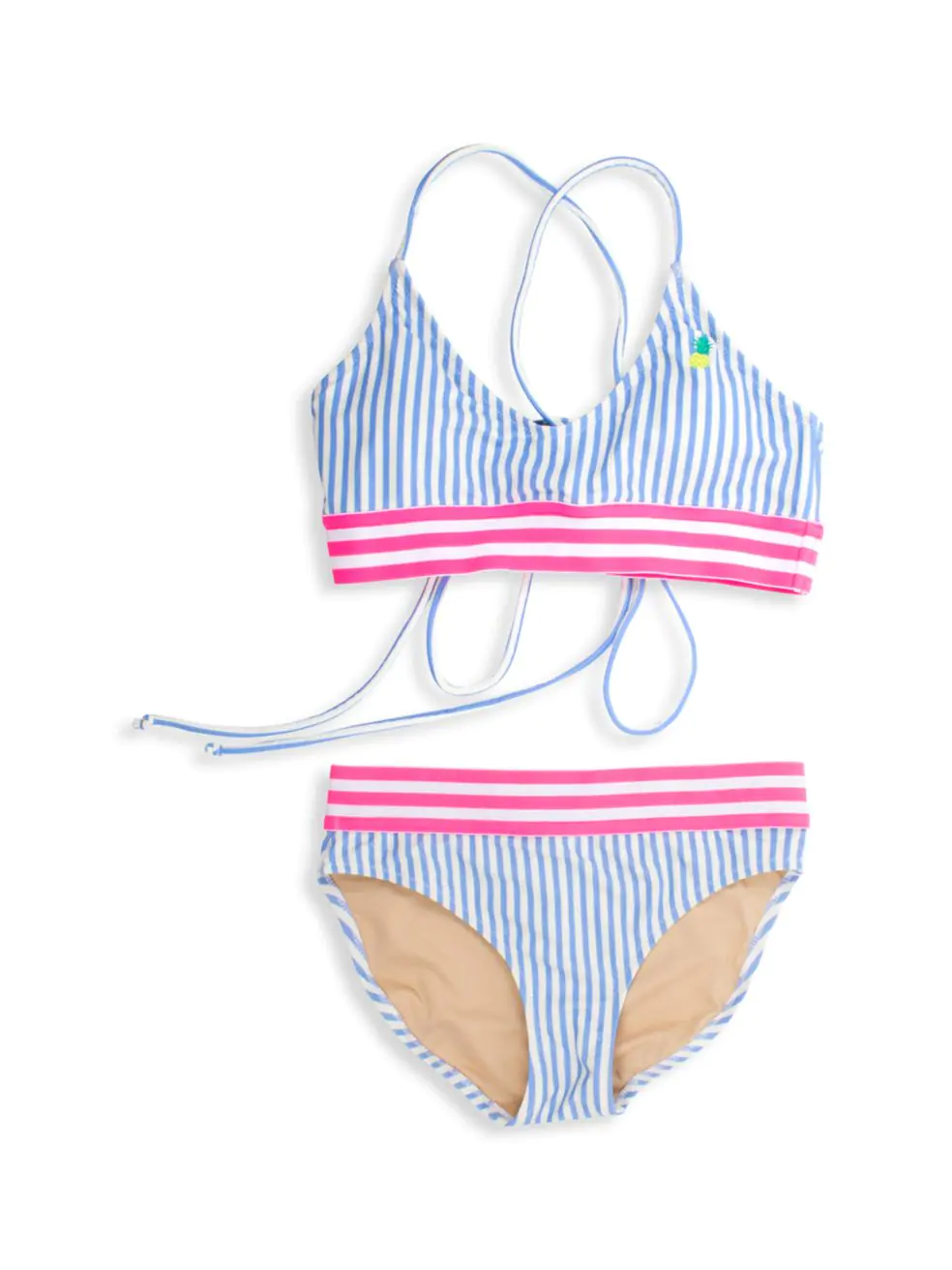 2-Piece Tie Back Bikini - Blu Stripe Pineapple