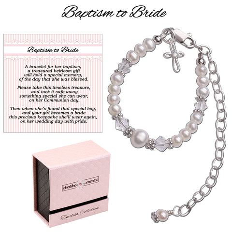 Baptism to Bride Baby Cross Bracelet Christening Gift - This Little Piggy