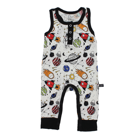 Space Doodle Bamboo Tank Romper - This Little Piggy
