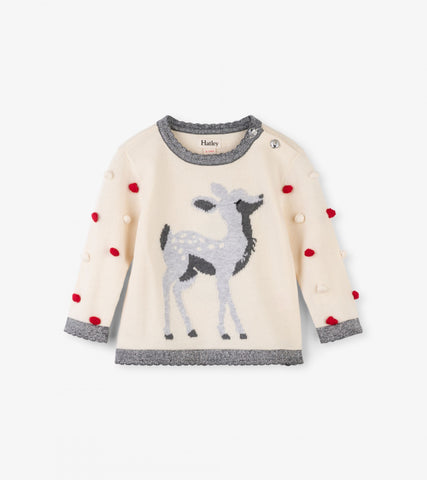 Delightful Fawn Pom Pom Baby Sweater - This Little Piggy