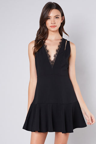 Fit & Flare Lace Front Dress