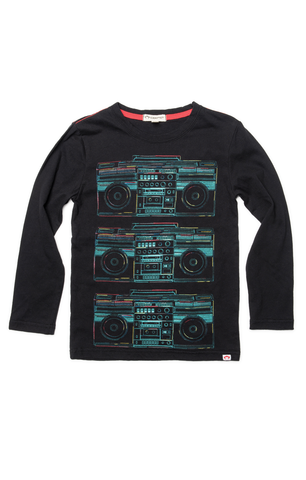 Graphic Boombox Long Sleeve Tee - Black