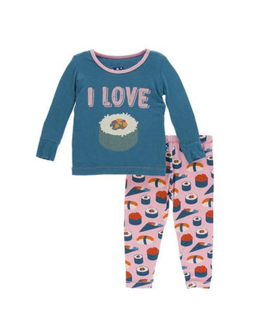Print Long Sleeve Pajama Set Lotus Sushi