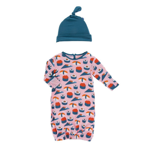 Print Layette Gown & Single Knot Hat Set Lotus Sushi