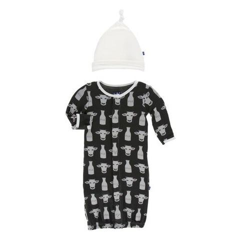 Print Layette Gown Converter & Knot Hat Set Zebra Tuscan Cow