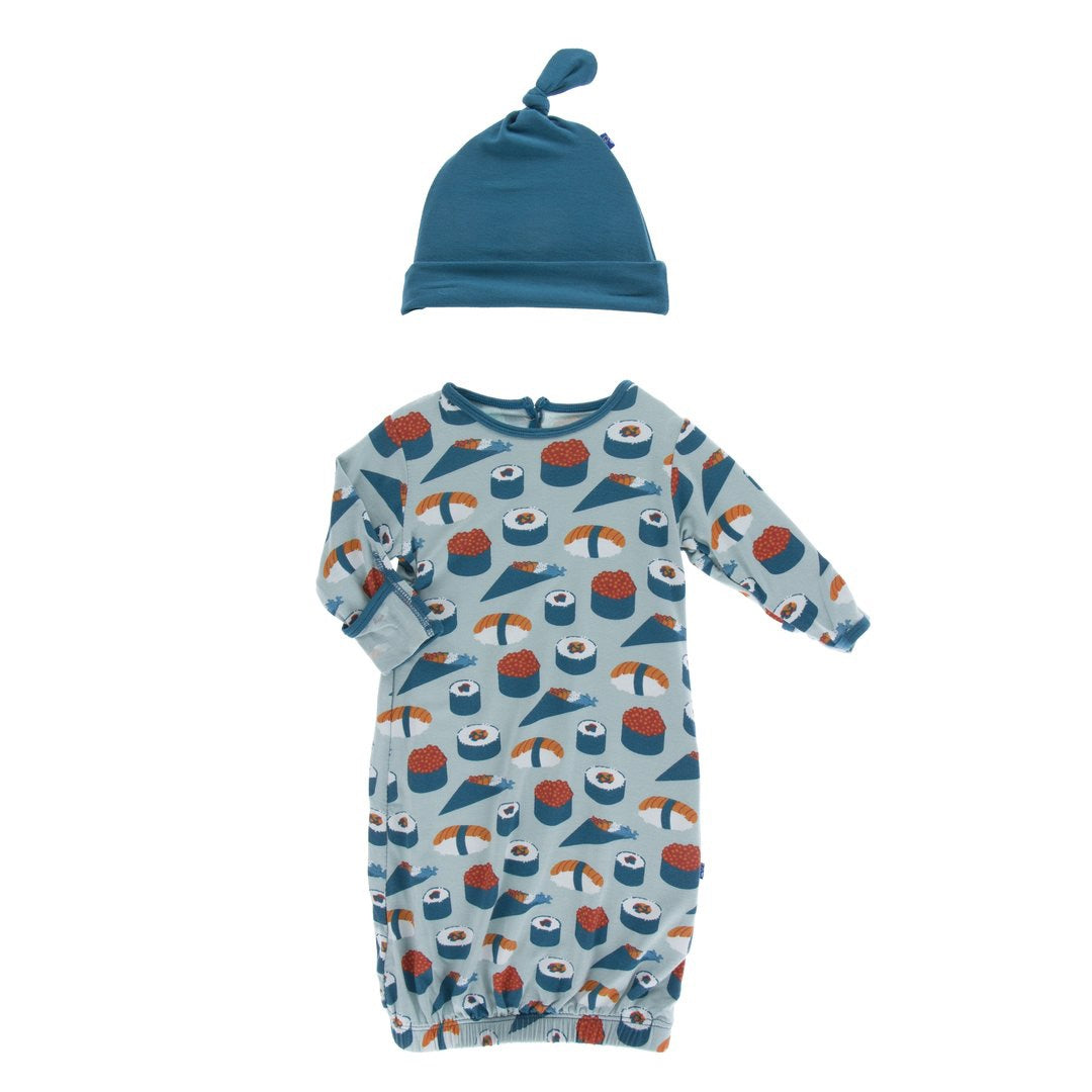 Print Layette Gown & Single Knot Hat Set Jade Sushi