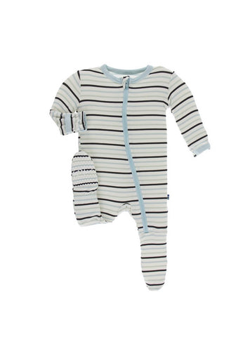 Print Footie w/ Zipper Tuscan Afternoon Stripe