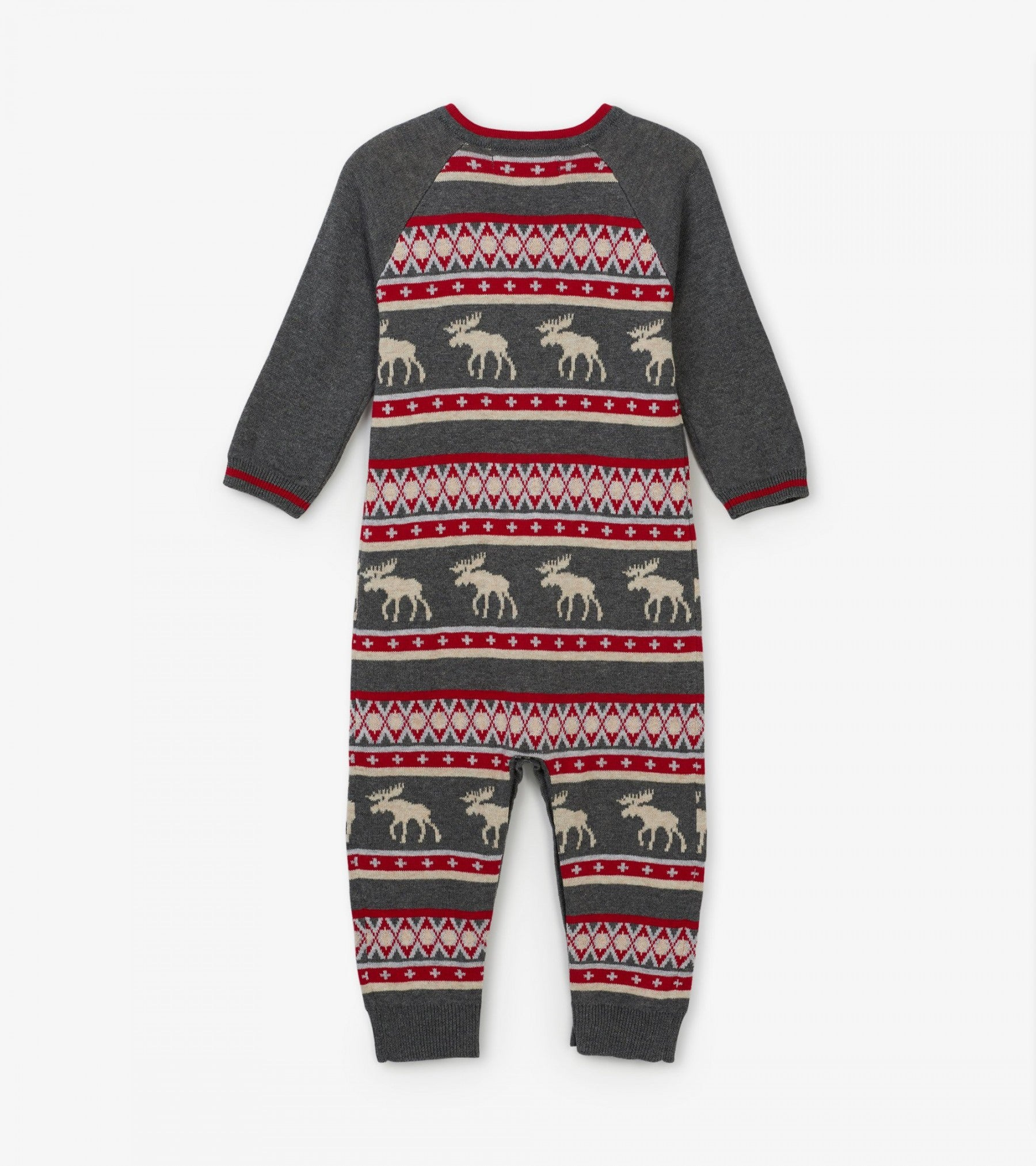 Fair Isle Moose Baby Sweater Romper