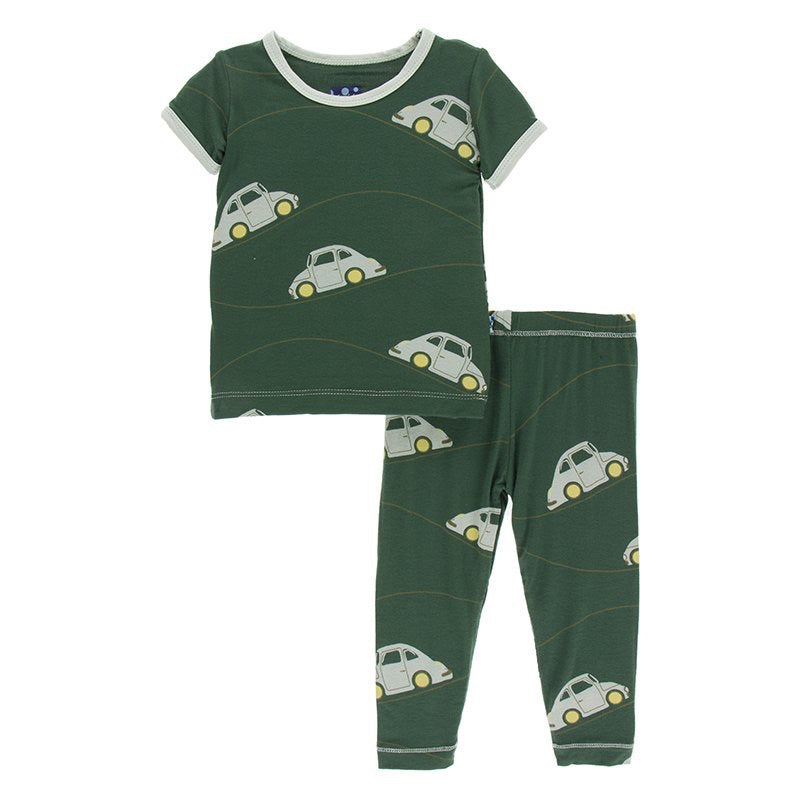 Print Short Sleeve Pajama Set  Topiary Italian Car