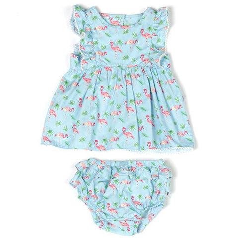 Printed Poplin Dress with Pompom and Panty Blue Flamingo - This Little Piggy