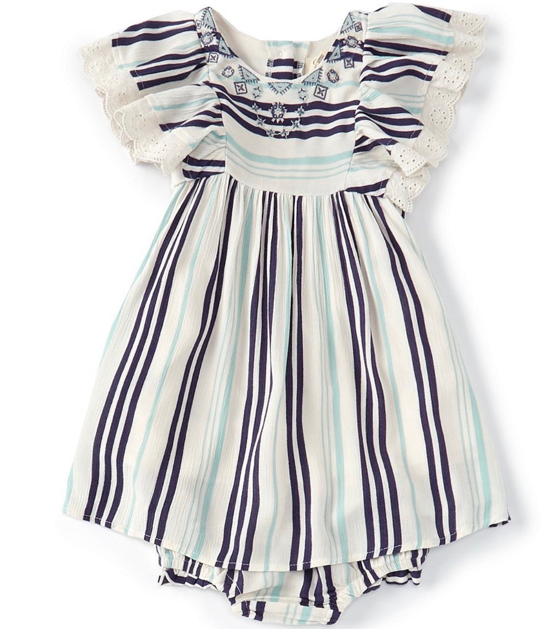Crystal Stripe Flutter Dress