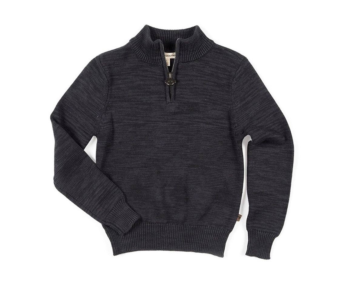 Mock Neck Sweater - Charcoal Heather
