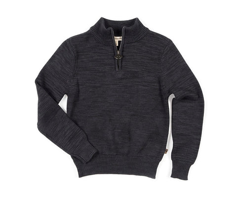 Mock Neck Sweater - Charcoal Heather - This Little Piggy