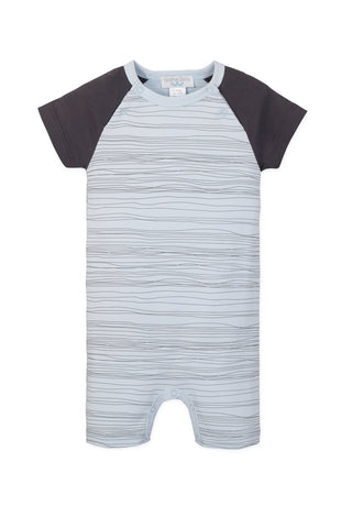 Sailor-Sleeve Romper Stripe on Baby Blue - This Little Piggy
