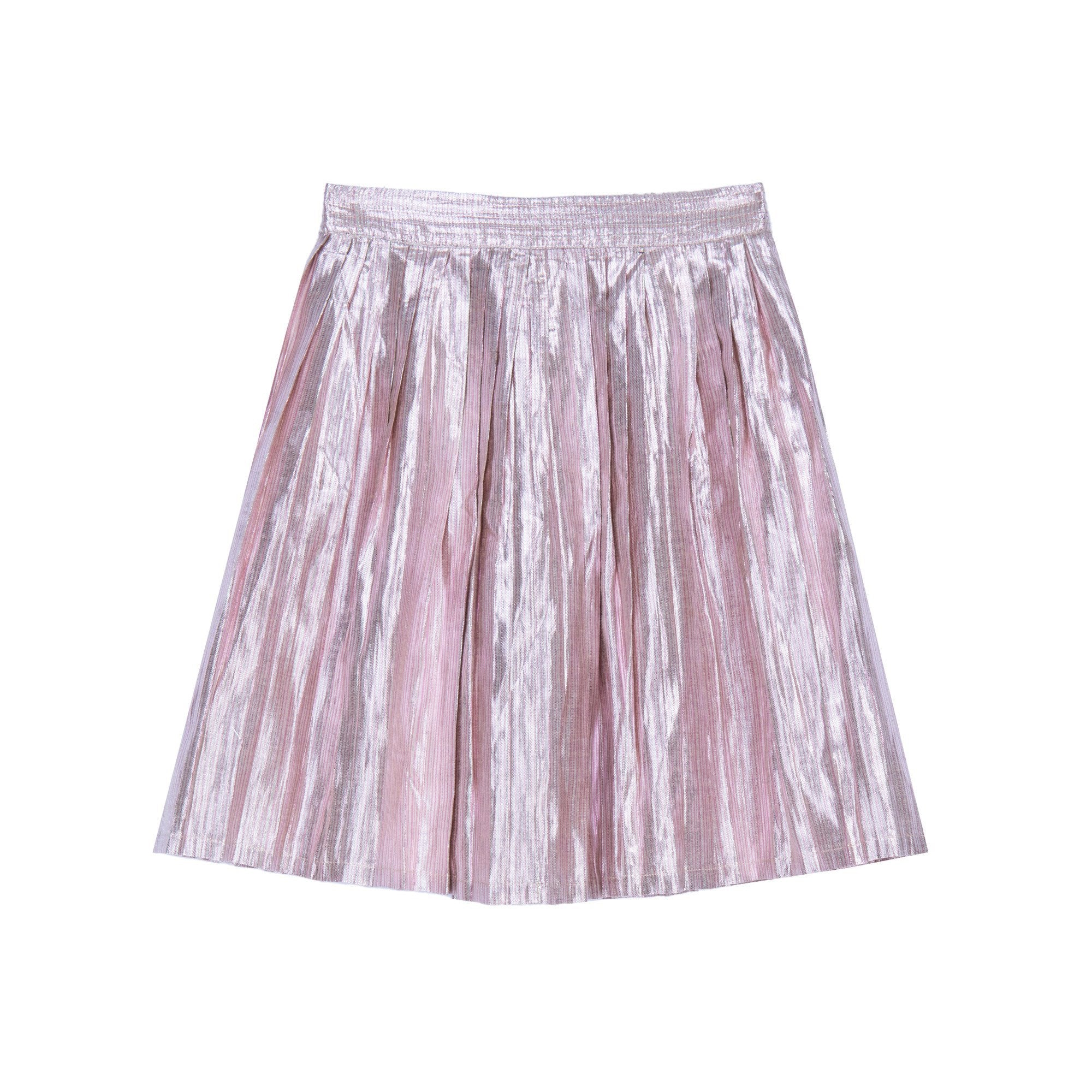 Paola Pleated Knee Length Skirt - Gold Pink Stripe Lame