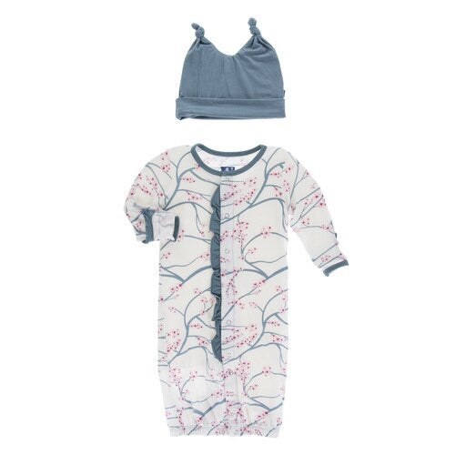 Print Layette Gown & Single Knot Hat Set Natural Japanese Cherry Tree
