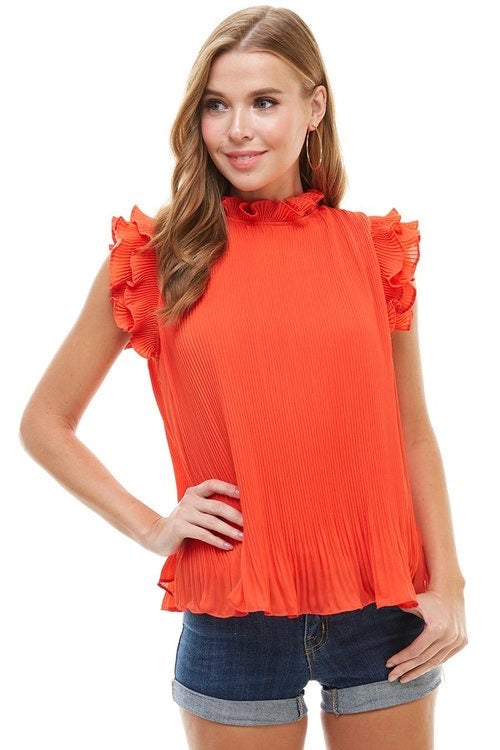 Pleated Ruffle Sleeve Top - red