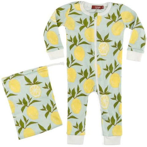 Organic Zip Pajama - Lemon