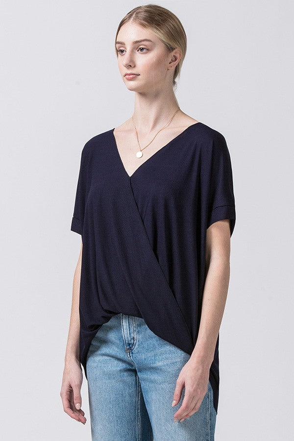 Surplice Front Rolled Sleeve Top