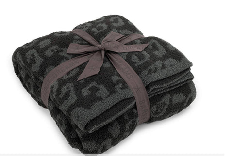Barefoot Dreams -Cozy Chic In The Wild Throw - Graphite/Carbon Leopard - This Little Piggy