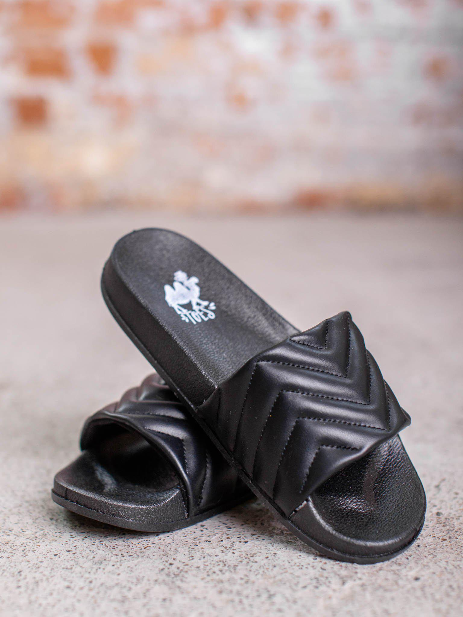 Breeze Black Puff Slides