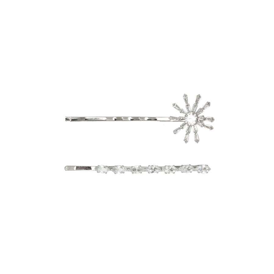 Cubic Zirconia Bobby Pins - Set of 2