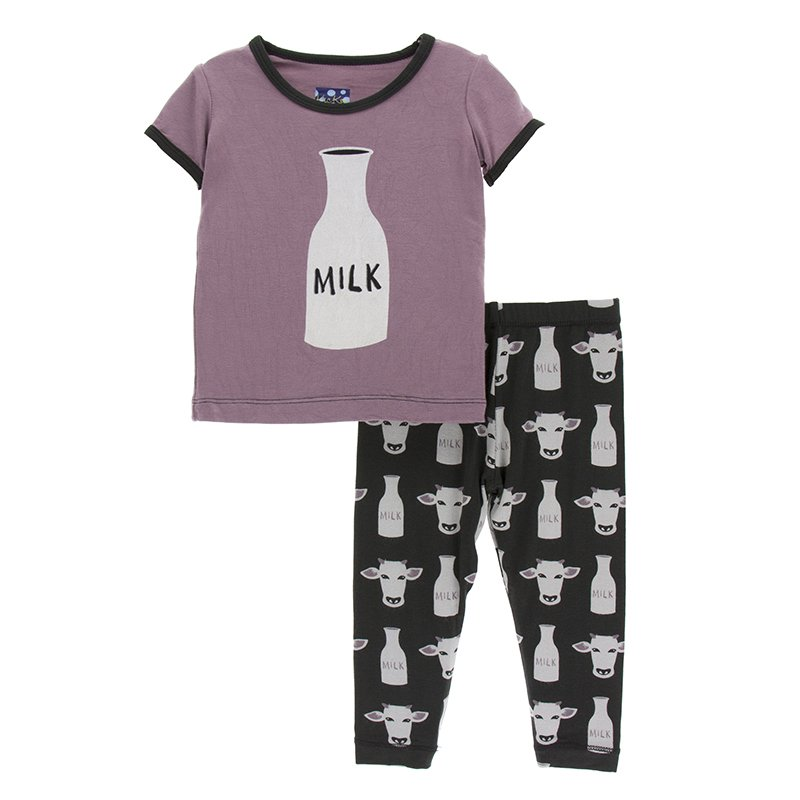 Print Short Sleeve Pajama Set Zebra Tuscan Cow