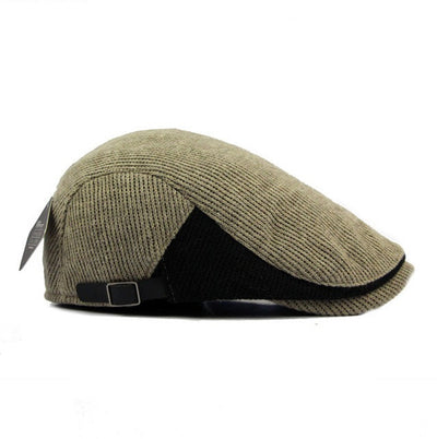 Unisex Cotton Knitted Beret Hat Knitting Buckle Adjustable Gentleman Cap