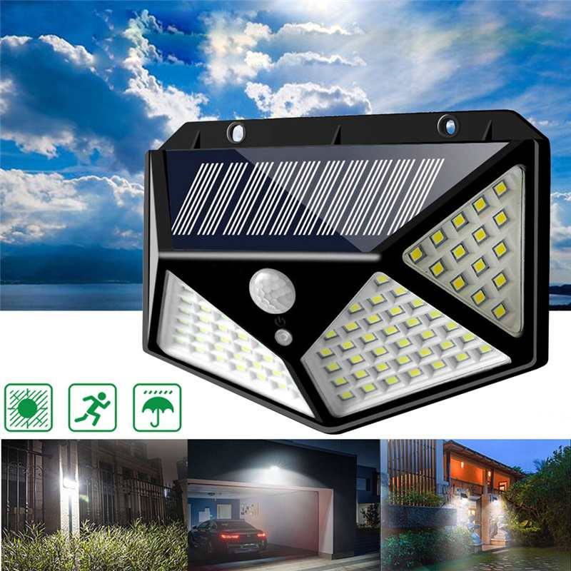 100 LED Solar Powered 3 Modes PIR Motion Sensor Security Floodlight