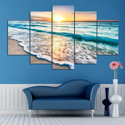 Sunset Beach Frameless Printed Canvas Art Print 5PCS