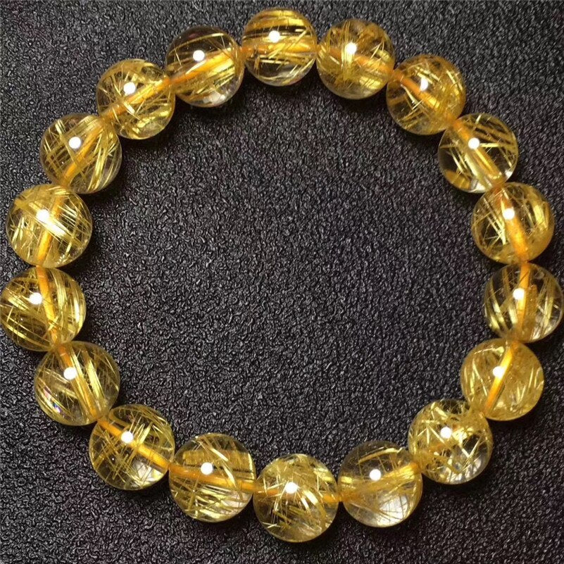 11mm Brazil Natural Gold Rutilated Titanium Quartz Bracelet For Woman Man Round Wealthy Crystal Beads Fashion Charms Jewelry
