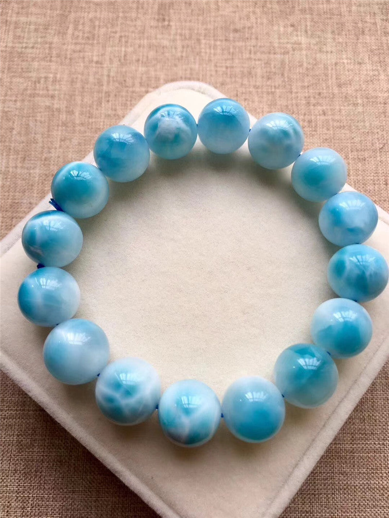 13.1mm Genuine Natural Larimar Bracelet Women Men Anniversary Party Gift Powerful Stretch Crystal Round Bead Bracelet Jewelry