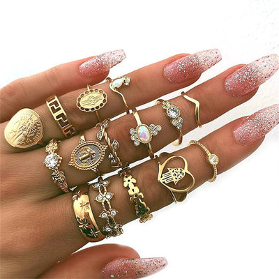 15 Pcs/set Women Fashion Rings Hearts Fatima Hands Virgin Mary