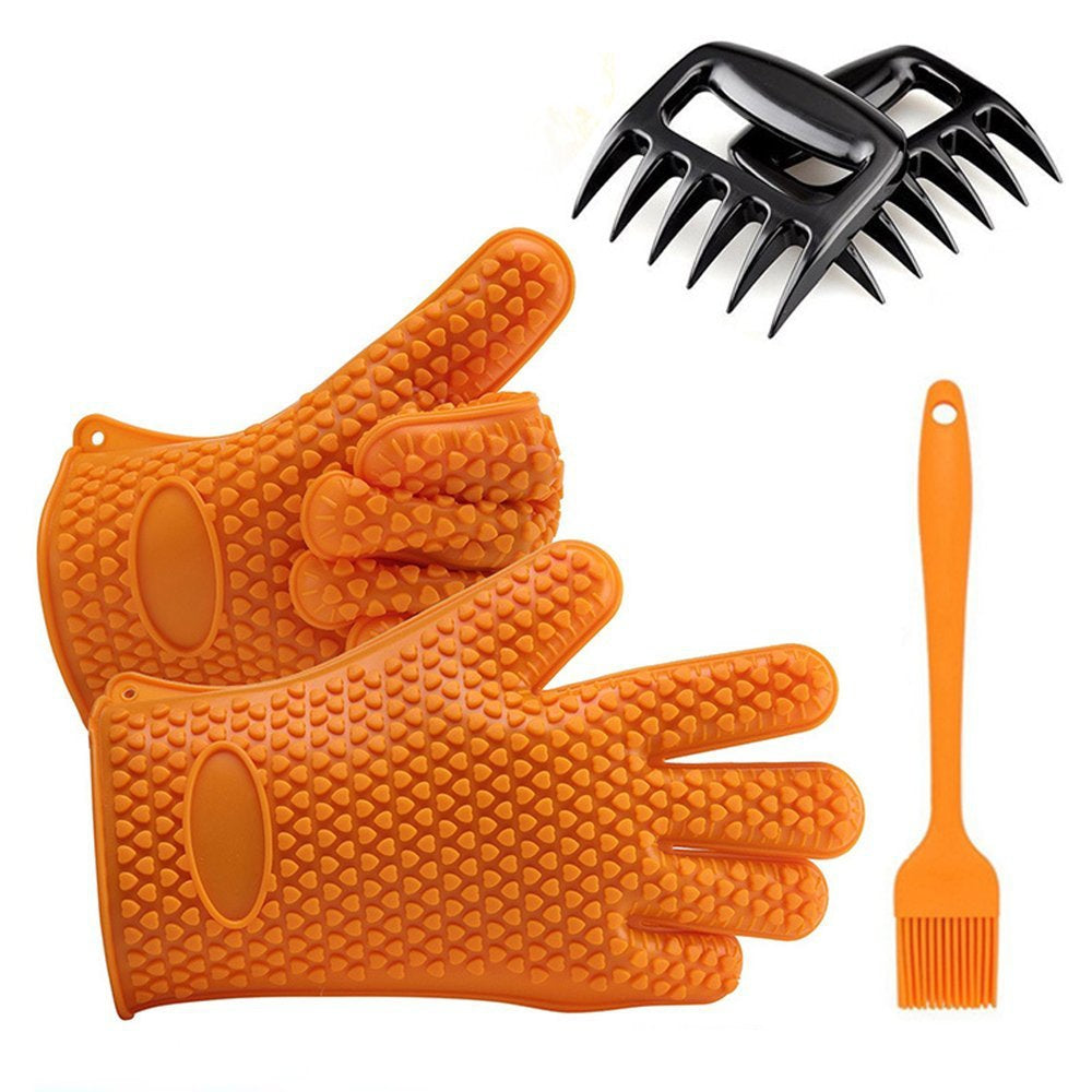 BBQ Tool Set Includes 1 Pair Heat Resistant Silicone BBQ Barbecue Cooking Gloves 2 Meat Shredder Claws 1 Basting Brush