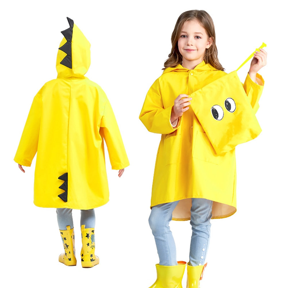 Cute Little Dinosaur Waterproof Polyester Rain Coat
