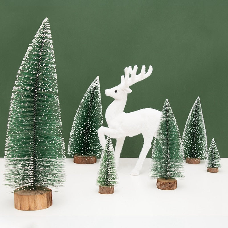1PC Mini Artificial Chirstmas Tree Ornaments 10/15/20/25/30cm Pine Tree Xmas Decorations For Home Party Xmas New Year Supplies