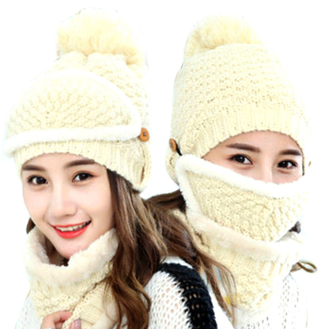 1Set Unisex Multifunction Winter Warm Velvet Lined Knit Slouchy Mouth Masks +Hats+ Collar Scarf Set