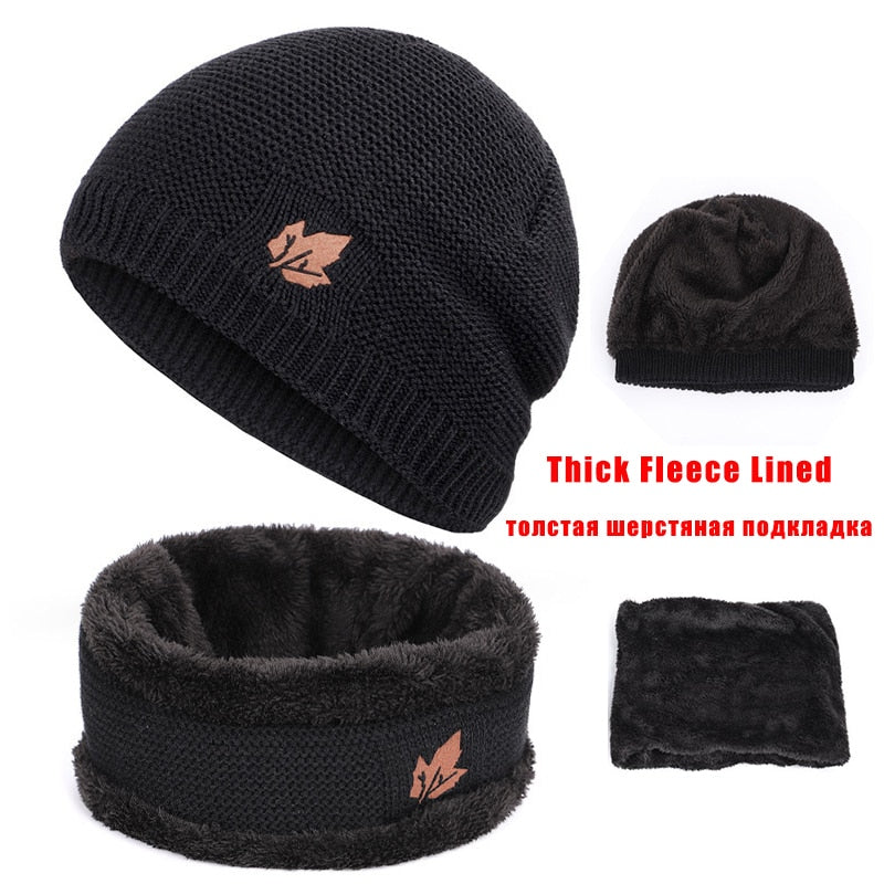 Hat & Scarf For Women Thick Skull Cap For Men