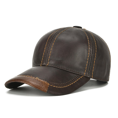 Mens Cowhide Leather Solid Baseball Cap Casual Sunshade Sport Adjustable Snapback Cap