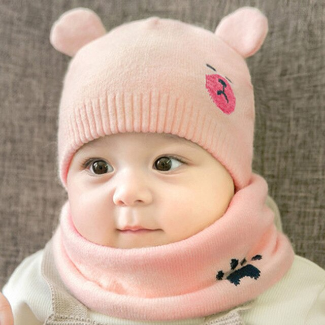 2pcs/set Newborn Hats baby cap Knitted wool Bear Round boys girls Cap